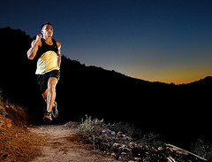 Twilight Running in the Desert (Poppa-D) Tags: sunset mountains twilight rocks desert running run trail athlete fitness runner fitnessmodel