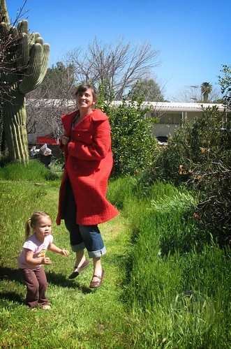 modeling Aunti Lo's red coat