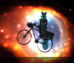 ~ Meet Me in Outter Space ~ (MiaSnow) Tags: life art bike bicycle tattoo cat photoshop 3d screenshot artist blu space tail digitalart kitty sl photograph nebula secondlife virtual second neko digitalwork hobo catwoman hubble catgirl poofy outter bluekitty miasnow catsinspace
