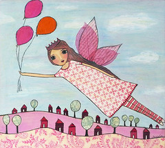 Fairytale Fairy Painting Art by Sascalia (sascalia) Tags: wings whimsical trees tree summer spring sky sascalia red princess pretty pink patterns painting original originalart nature mixedmedia magical longhair illustration house girls girl garden faries fantasy fairytale fairy face etsy dress day cute colorful collage children child blueeyes bigeyes beauty beautiful ballons art angel