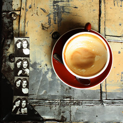 Patina (margolove) Tags: girls friends blackandwhite texture cup coffee oregon vintage portland table photo photobooth spoon strip mug pdx latte filmstrip stumptown
