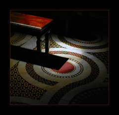 Mystical spotlight (Nespyxel) Tags: light shadow rome roma church dark bench floor emotion pov ombra decoration banco spotlight chiesa pointofview mystical decorate mystic pavimento geometrie santamariaintrastevere mysticism panca geometries emozione decoro challengeyouwinner nespyxel stefanoscarselli pleasedontusethisimageonwebsites blogsorothermediawithoutmyexplicitpermissionallrightsreserved