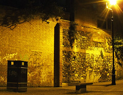 A place to meditate? (Kenny Boy1) Tags: wall night graffiti streetlight bin norwich stpeterparmentergate 230409