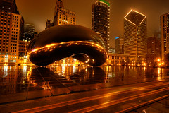 damn bean (chasingcars36) Tags: chicago reflections lights golden illinois downtown bean nighttime millenniumpark chicagoskyline