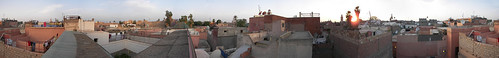 Panoramic view from the top of riad Chellah in Marrakesh's ancienne médina