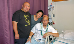 me, Berda and James in his hospital room