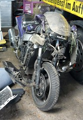 Kawasaki ZZR 1100 totaled (stkone) Tags: deutschland still crash going strong alive kicking kawasaki survived motorcyle 1100 motorrad zzr