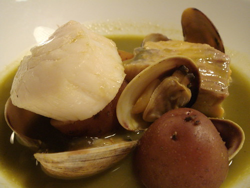 green garlic soup with scallop, lake trout, and manila clams