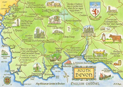 South Devon England Map.England South Devon Map Postcard A Photo On Flickriver