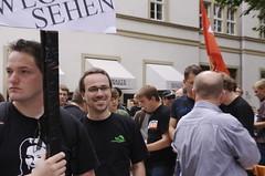 Henning Schürig auf der Zensursula-Demo in Stuttgart (Bild von Trixy Freude)