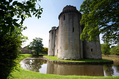 Tower of serenity? (archidave) Tags: uk trees summer reflection tower castle monument water eh ancient framed gothic somerset medieval fortification moat englishheritage nunney sundayshot