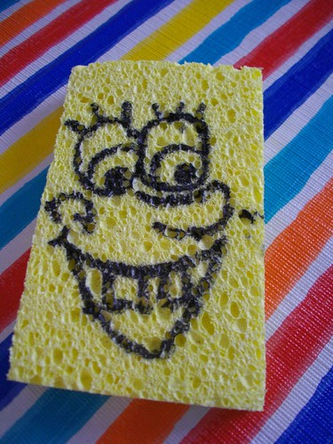 My sister-in-law drew little Spongebob faces on sponges for a tossing game.