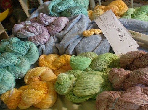 Freshly dyed sock yarn in blue, green, yellow and purple semisolid colorways I Made Yarn by Joyuna