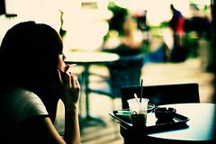 trance (moaan) Tags: leica summer woman hot digital 50mm dof midsummer bokeh cigarette smoke dream cellphone august f10 smoking dreaming starbucks heat utata m8 noctilux daydream 2009 explored leicam8 leicanoctilux50mmf10 gettyimagesjapanq1 gettyimagesjapanq2