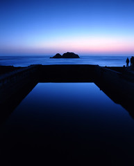 portal to eternity (louie imaging) Tags: ocean sanfrancisco ca blue light mamiya beach last 50mm evening bay coast ruins san francisco glow fuji place pacific dusk cement calm structure coastal baths area sutro e6 8x20 platinumheartaward grouptripod