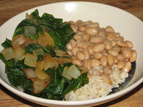 bird egg beans and collards