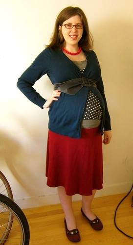 Polka Dot Red Navy, Red and White Work Outfit; 33 weeks pregnant!