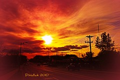 Red Skies at Night (Doug Wallick) Tags: road street trees light sunset red sky tower cars station minnesota clouds radio wire energy skies power telephone pole intersection avenue newhope antenna picnik lightroom filtered superamerica winnetka 36th a230 thefixx flickraward