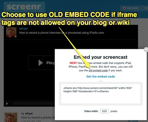 Screenr - Use Old Embed Code