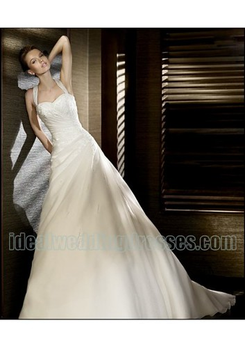 Organza Sweetheart Silhouette with Straps Applique Ruffled Bodice in Chapel Train 2011 New Desinger Wedding Gown WD-0527