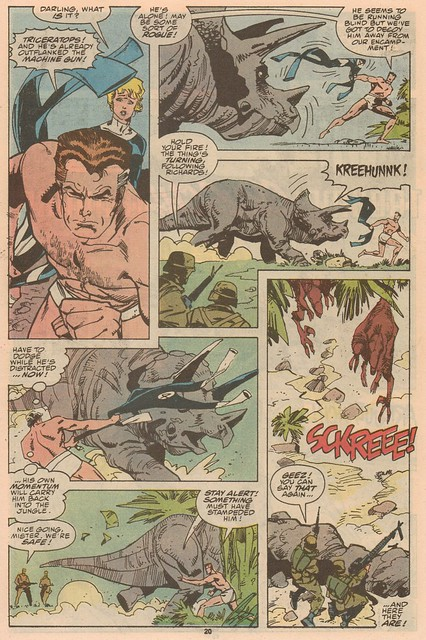 Mr. Fantastic wards off a Triceratops... in his skivvies.
