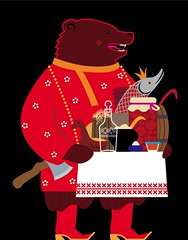 russia (suzy_yes) Tags: bear fish illustration russia axe pr welcome vector br caviar hecht willkommen  mariazaikina kosovorotka