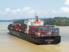 Hanjin San Francisco in Panama canal (wirralwater (NO MORE UPLOADS)) Tags: canal san francisco ship container panama hanjin