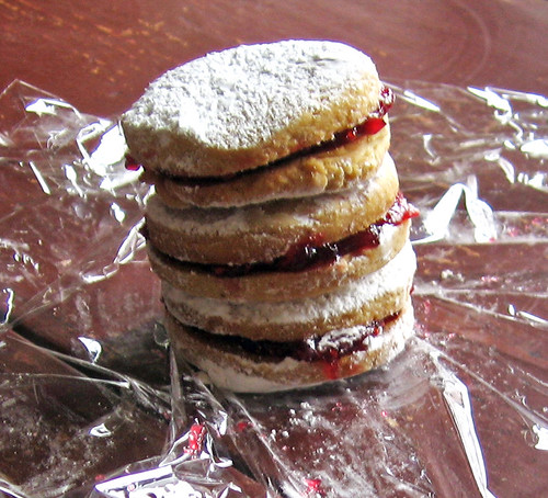 stack of raspberry sandwich cookies