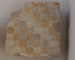Tile shard with squares in gold and blue (Monceau) Tags: brown tile gold shard paleblue louvremuseum
