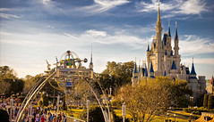 (kevkev44) Tags: sunset landscape disney peoplemover disneyworld waltdisneyworld magickingdom tta cinderellacastle disneycastle nikond60 tommorrowland topazadjust ohyeahthankstopazadjustforthehelpineditingthisphotowoohoo