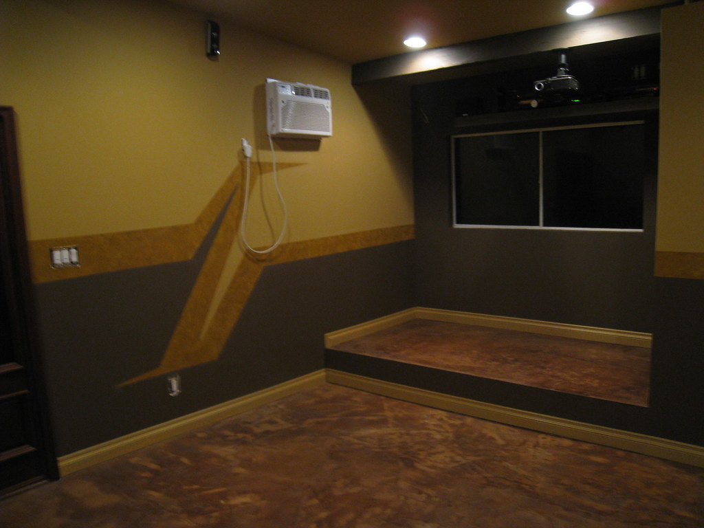 theater room concrete floor: after