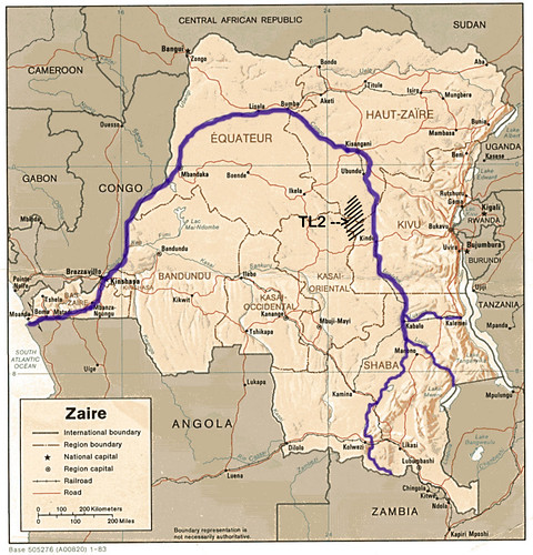 Map Of Africa Zaire River.March 2009 Searching For Bonobo In Congo