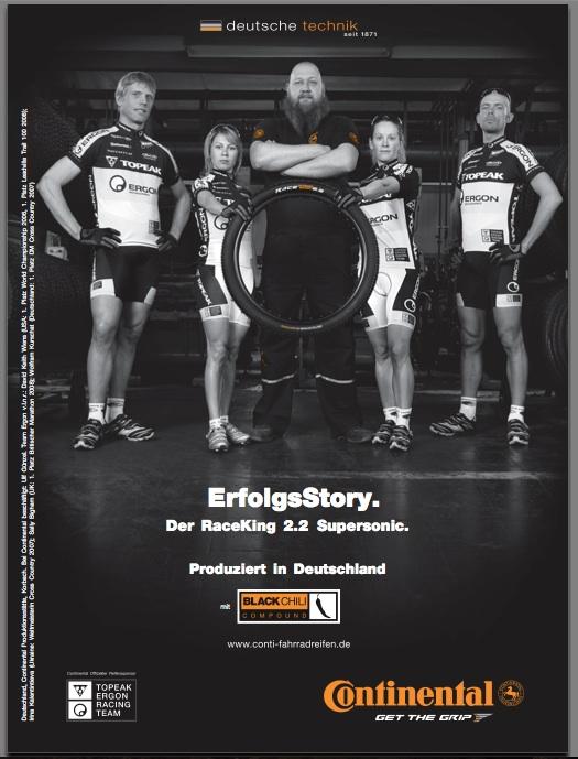 Continental Tire ad featuring Topeak-Ergon