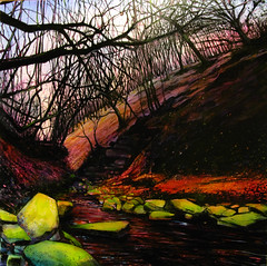 Last light Rivington 100x100cm mixed media painting by Rick Dickinson at crow lane studio (Rick_Dickinson) Tags: river painting landscape stream artist mixedmedia lancashire canvas gorge spraypaint aerosol mossy wigan oilpaintin rickdickinson crowlanestudio