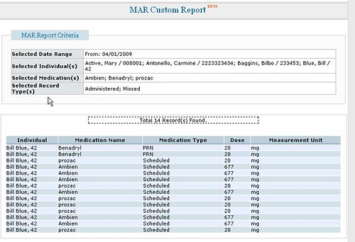 Screenshot of MAR Custom Report page with Mar Report Criteria field and list of total records