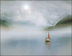 Scotch mist! (adrians_art) Tags: sky cloud mist mountains reflection film water weather fog boats scotland bravo dream hills ullapool westerross sailling topofthefog infinestyle berendlikesit