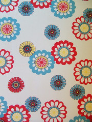 Mod Flowers*Ecru (Paper Pie * Liz Scott) Tags: blue red color cute yellow fun design mod pattern graphic turquoise sewing crafts surfacedesign retro fabric round fllower spoonflower creativetypes paperpie