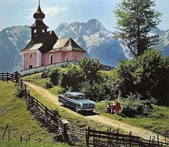 Pink church (Martin van Duijn - on Ipernity too) Tags: vintage germany deutschland bavaria photography berchtesgaden photo calendar oberbayern calender land alpen publicity opel kapitn berchtesgadener
