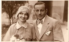 Newlyweds. 1922. (elinor04) Tags: old family flowers 1920s wedding woman man hat fashion vintage photo bucket couple hungary cabinet crochet budapest young picture hats bowtie style retro celebration card photograph dresses flapper hairstyle gentleman oldfashioned