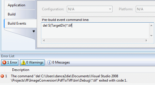 How to delete files in Visual Studio Pre-build event command line
