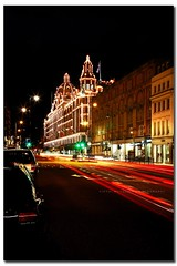 Harrods (I f t h i ~ M u t a l i p h) Tags: road nightphotography light red london night canon shopping eos lights traffic unitedkingdom harrods knightsbridge departmentstore shops lighttrails nightlife manfrotto ef24105mmf4lisusm mohamedalfayed 40d ifthimutaliphphotography