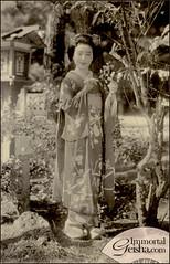 Maiko (Naomi no Kimono Asobi) Tags: japan vintage japanese photo kyoto antique postcard maiko photograph kimono obi gion 1950 pontocho vintagephoto hanamachi vintagephotograph rppc