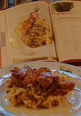 diced risotto with lamb skewers