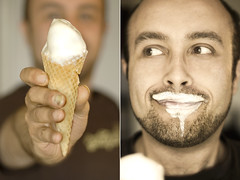 Yum, Ice Cream | 365:10 - Take 3 (zeon7) Tags: portrait man male ice self canon melting hand autoportrait sunday fingers may cream grin 10th day10 2009 mez selfie wirelessremote take3 fgr 365days runney zeon7 365self 36510 madagascanvanilla