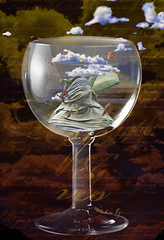 Asthma Crisis (vinciane.c) Tags: glass illustration clouds photoshop death hope women die wind linen fear manipulation photomontage crisis asthma desease noair