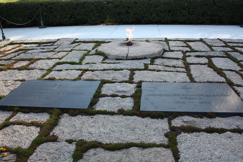 The grave of JFK at Arlington National Cemetery