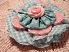 Fab Fifties Fluffy Flower Pin (misseskwittys) Tags: pink aqua fifties buttons retro gingham checks misseskwittys oldworldshoppes