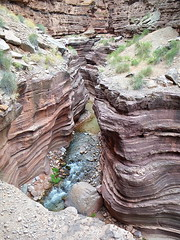 Deer Creek narrows slot canyon with exposure - hiker for perspective (Al_HikesAZ) Tags: park trip arizona nationalpark sandstone exposure hiking quote grandcanyon grand canyon hike rafting national raft slot azra narrows slotcanyon deercreek inthecanyon  grandcanyonnationalpark fearofheights gcnp  tapeatssandstone tapeats alhikesaz   gc2009 belowtherim arizonaraftadventures