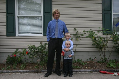 Me, Ian, and Mini-Cooper, ready for church.