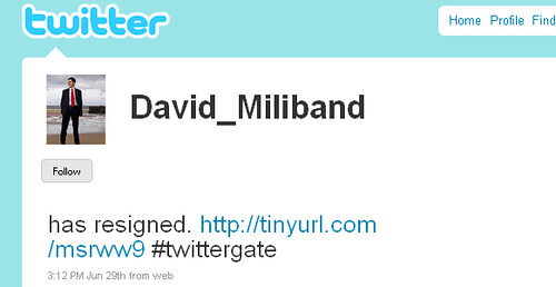 Fake David Miliband Twitter Profile